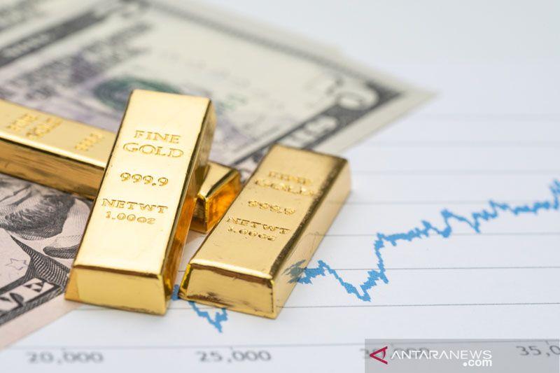 """Greenback"" dan imbal hasil obligasi turun,  emas terangkat 13,4 dolar"