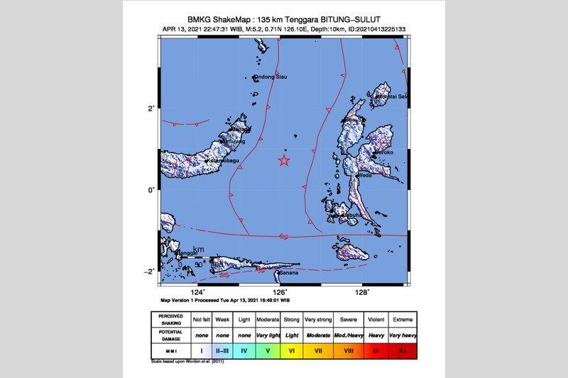 Gempa magnitudo 5,6 mengguncang Sulawesi Utara