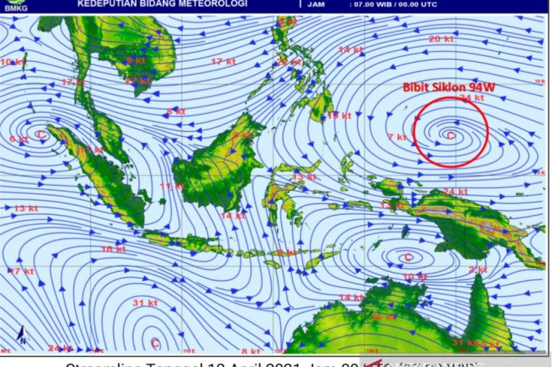 BMKG ingatkan masyarakat waspadai banjir terkait siklon tropis 94W