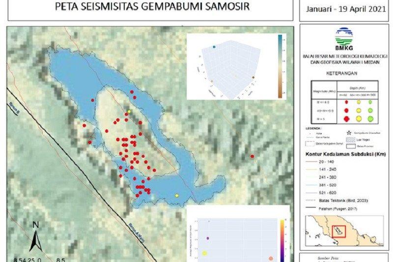 BMKG catat 60 gempa bumi di Kabupaten Samosir