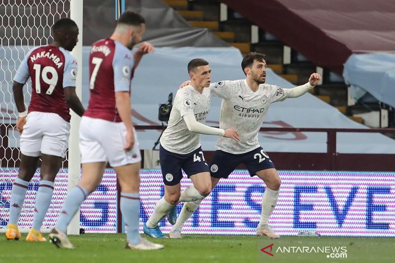 City taklukkan Villa 2-1 dalam laga yang berakhir 10 lawan 10