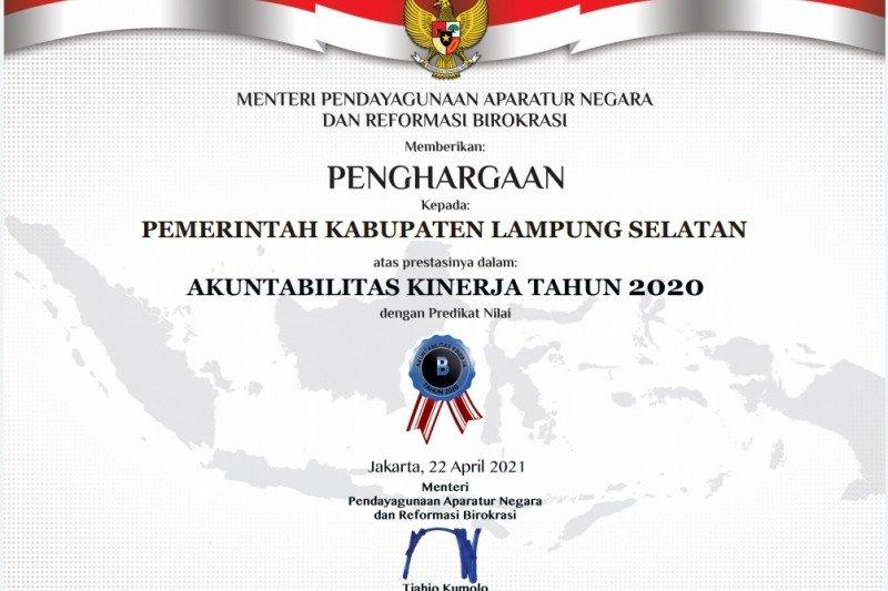 Pemkab Lampung Selatan raih penghargaan AKIP 2020 predikat B