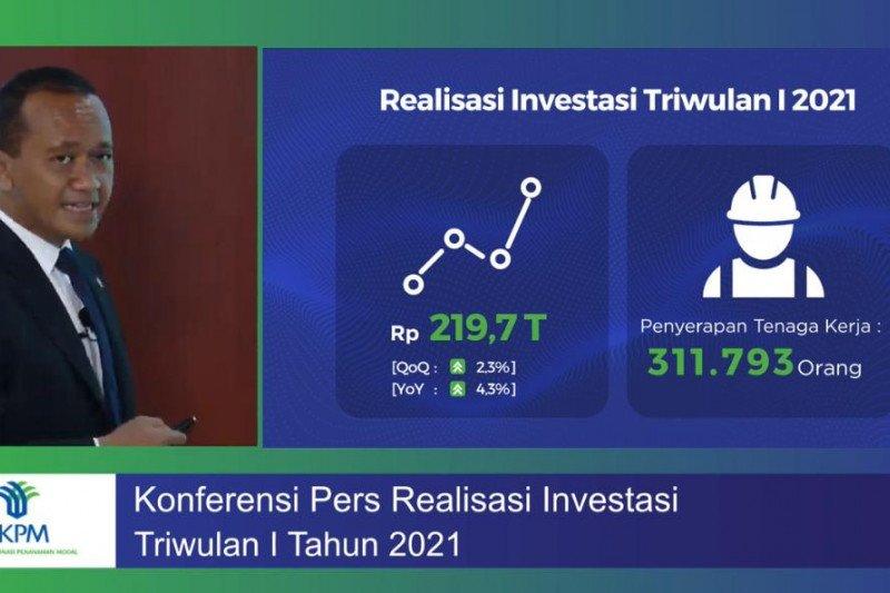 BKPM catat realisasi investasi triwulan I 2021 capai Rp219,7 triliun