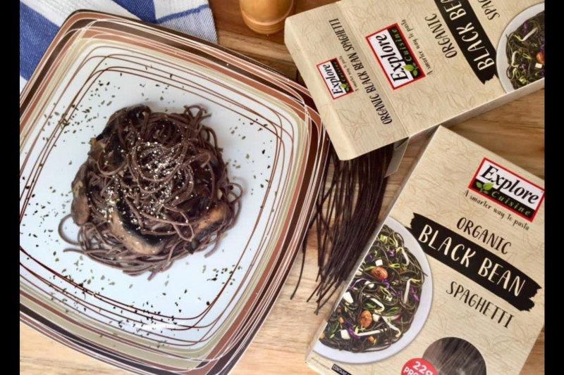 Resep black bean spaghetti cah jamur keju untuk menu Ramadhan