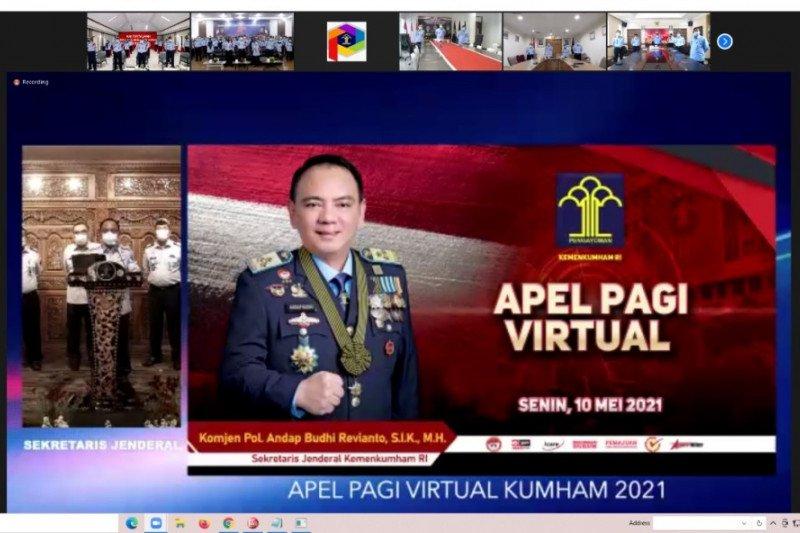 Kakanwil Kemenkumham Sulsel ikuti apel pagi virtual dipimpin Sekjen Kemenkumham RI