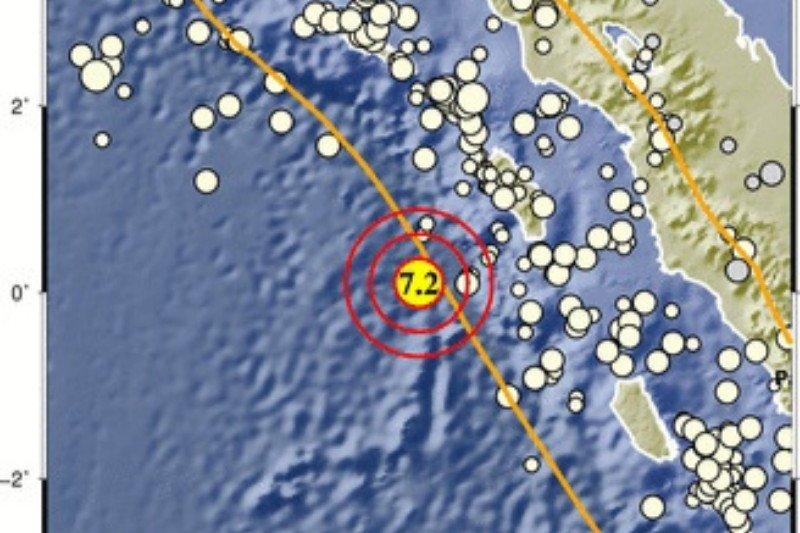 Gempa Magnitudo 7,2 di Nias Barat terasa hingga Kota Gunungsitoli