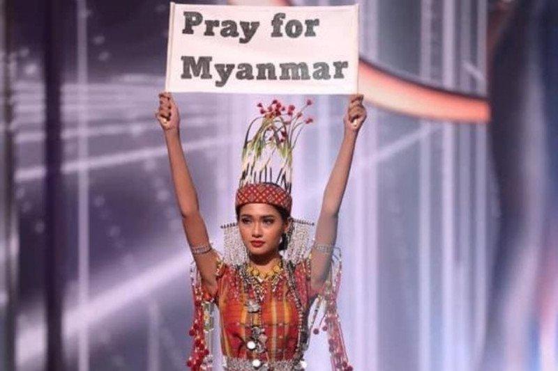 Kontestan Myanmar serukan perjuangan di Miss Universe 2020