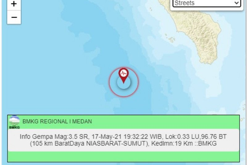 Gempa magnitudo 5,1 guncang Nias Barat tidak berpotensi tsunami