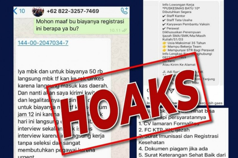 Informasi lowongan kerja Puskesmas Batu 10 Tanjungpinang hoaks