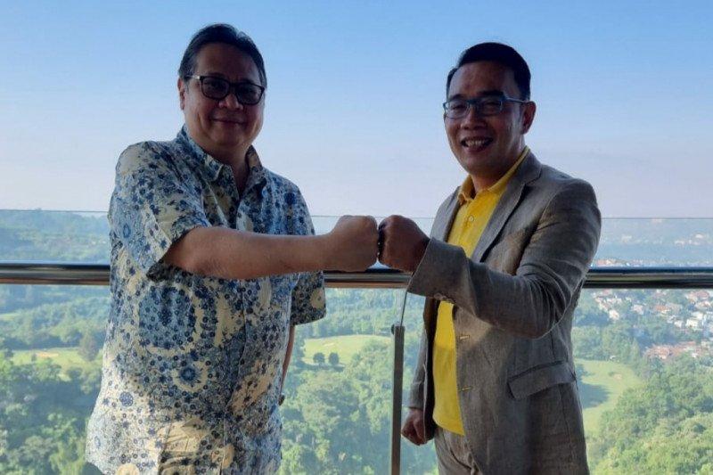 Gubernur Ridwan Kamil bertemu Airlangga Hartanto bahas masalah aktual