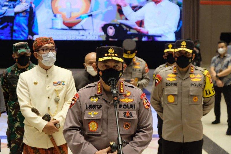Kapolri ingatkan warga Bandung disiplin prokes setelah divaksin