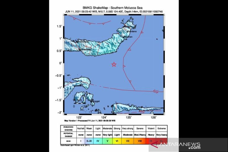 Gempa magnitudo 5,7 M di Sulut akibat  aktivitas subduksi Sangihe