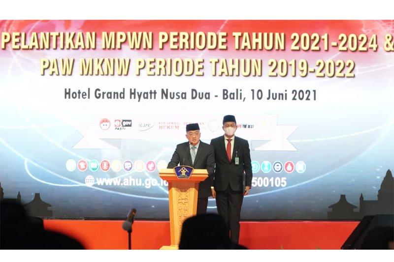 Kakanwil Kemenkumham Sulsel ikuti pelantikan MPWN periode 2021-2024