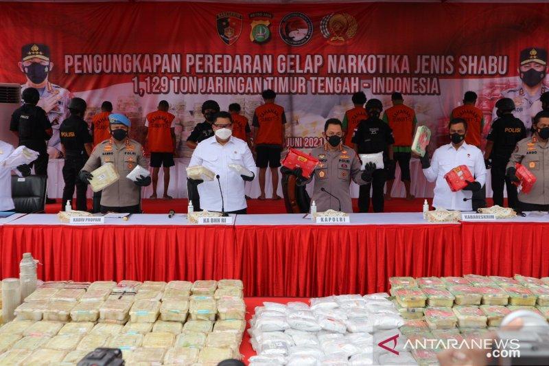 Polda Metro sita 1,129 ton sabu dari jaringan narkoba Timur Tengah-Indonesia