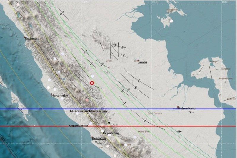 Gempa magnitudo 4,3 berkedalaman 2Km guncang  Merangin Jambi
