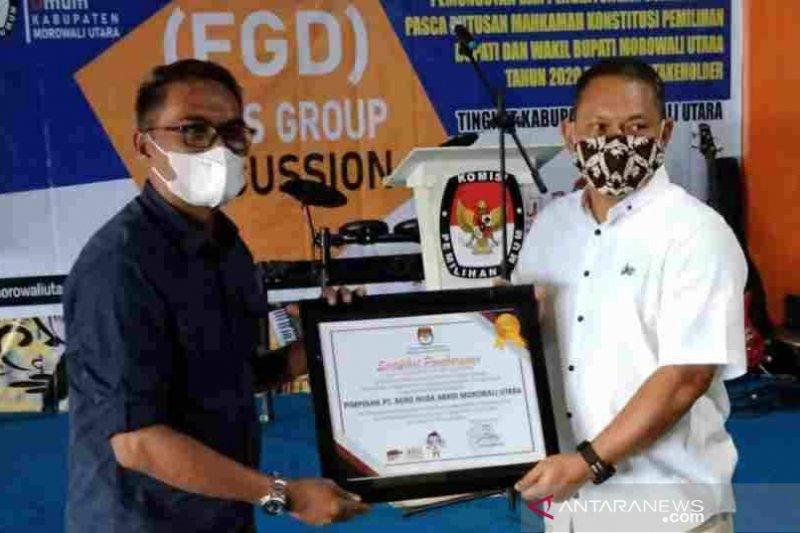 KPU beri penghargaan PT ANA karena lancarkan  PSU di Morowali Utara
