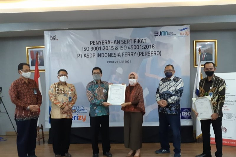PT ASDP kantongi ISO 9001:2015 dan ISO 45001:2018