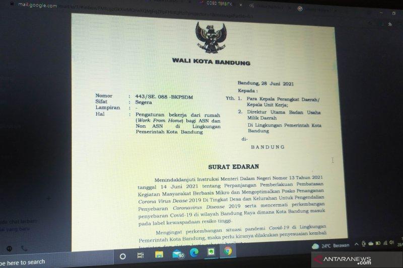 Wali Kota Bandung terbitkan surat edaran pemberlakuan WFH 75 persen