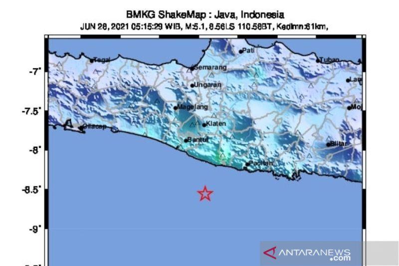 Gempa magnitudo 5,3 di Yogyakarta bukan
