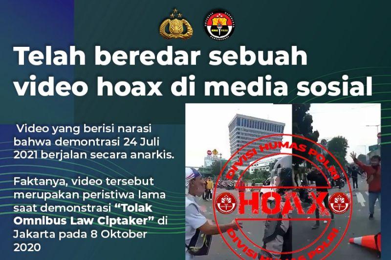 Video demo rusuh pada Sabtu 24 Juli 2021 adalah hoaks