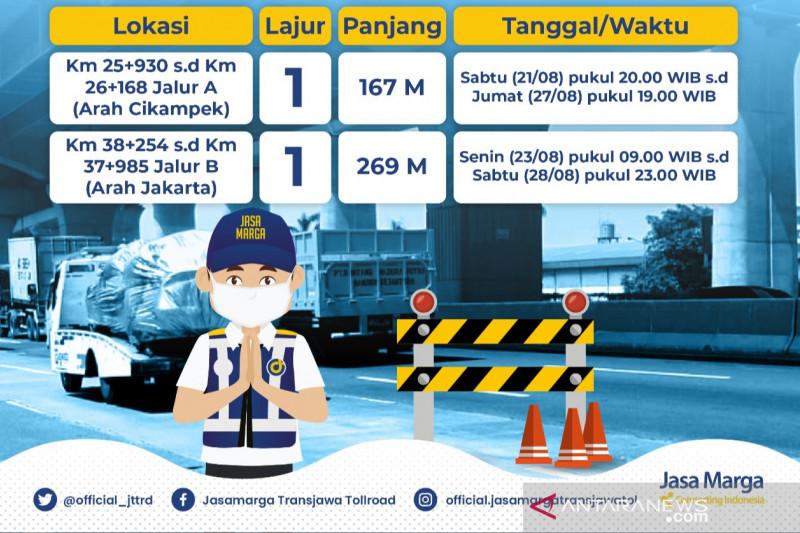 Dua titik ruas tol Jakarta-Cikampek diperbaiki mulai malam ini