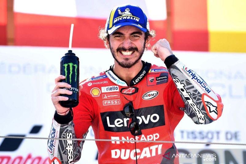 Francesco Bagnaia plong setelah rengkuh kemenangan MotoGP perdananya di Aragon