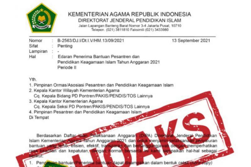 Kemenag pastikan surat edaran penerima bantuan pesantren itu hoaks