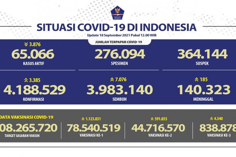 Angka kesembuhan harian nasional capai 7.076 orang